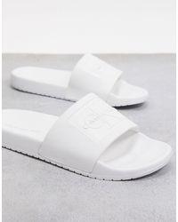 Calvin Klein Белые Шлепанцы -мульти - Белый