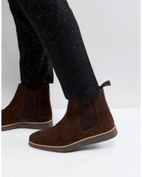 ASOS - Chelsea Boots In Brown Suede With Black Wedge Sole - Lyst