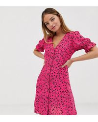 New Look Ditsy Floral Button Throuh Tea Dress In Pink