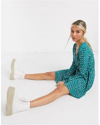Glamorous Платье Мини С Мелким Цветочным Принтом И Поясом -синий