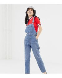 Monki Denim Dungarees With Organic Cotton In Blue