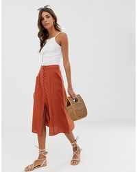 ASOS Midi Skirt With Button Front - Red