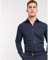 New Look Long Sleeve Poplin Shirt - Blue