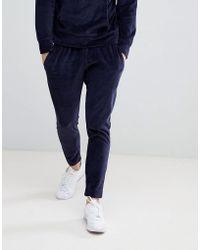 Mango - Man Velvour Jogging Trouser In Navy - Lyst