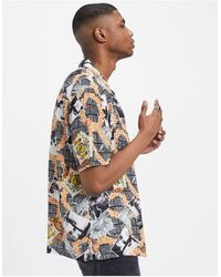 AllSaints Vista Relaxed Fit Photo And Flower Print Short Sleeve Shirt - Multicolor