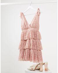 Bardot Lace Tiered Mini Dress - Pink