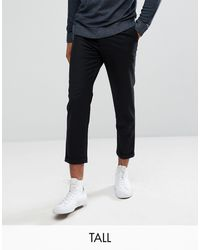 Bellfield Tall Cropped Trousers With Pleated Front - Black