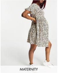 Flounce London - Свободное Платье С Оборками На Рукавах И Принтом В Виде Сердечек Flounce Maternity-розовый Цвет - Lyst