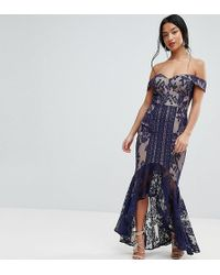Jarlo - All Over Lace Off Shoulder Fishtail Midaxi Dress - Lyst