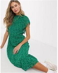 Oasis Floral Print Midi Dress - Green