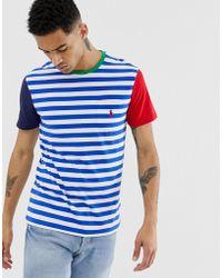 837182dc Polo Ralph Lauren - Player Logo Stripe Colourblock Pocket T-shirt In  Blue/white