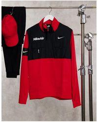 Nike Air - Polaire à demi fermeture à glissière à enfiler - Rouge - Noir