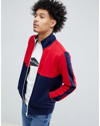 Tommy Hilfiger - Sporty Tech Full Zip Track Top In Red/blue - Lyst
