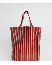 Weekday Limited Edition Vinyl Stripe Shopper - Red