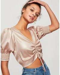 Miss Selfridge Blouse With Ruched Detail - Metallic