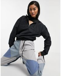 Noisy May Crop Top With Chain Neck And Long Sleeves - Black
