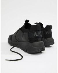 HUGO - Horizon Runn Leather Trainers In Black - Lyst