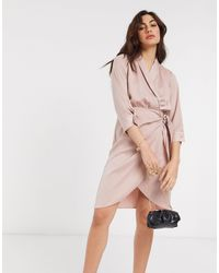 Y.A.S Satin Wrap Mini Dress - Pink