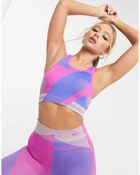 Nike Фиолетовый Бесшовный Бюстгальтер С Принтом Icon Clash-розовый