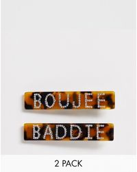 Glamorous Boujee & Baddie Rhinestone Embellished Tortoiseshell Clip 2 Pack - Brown