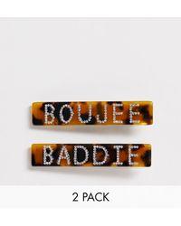 Glamorous Boujee & Baddie - Set Van 2 Haarclips Met Bergkristal En Tortoise - Bruin