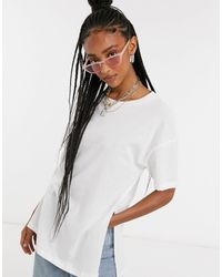 ASOS Textured Longline T-shirt With Side Splits - White