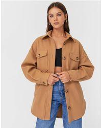 Stradivarius Куртка-рубашка Бежевого Цвета -коричневый