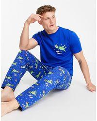 ASOS Pijama para estar por casa con estampado - Azul