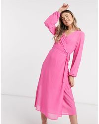 Vero Moda Wrap Midi Dress - Pink