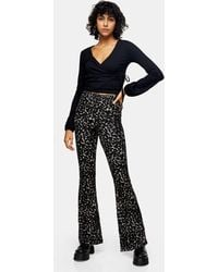 TOPSHOP Plisse Flared Trousers - Green