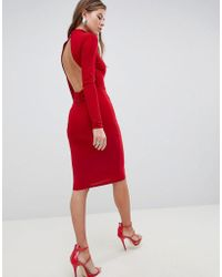 Crochet High Neck Detailed Dress With Long Sleeves. - Poppy red Club L Plus Low Cost For Sale Buy Cheap Best Store To Get Cheap Sale Extremely Cheapest Price Cheap Price J6pqTe