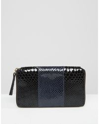 Urbancode - Color Block Leather Purse With Faux Snake Panel - Lyst