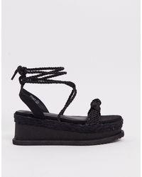 PrettyLittleThing Tie Leg Flatform Sandal - Black