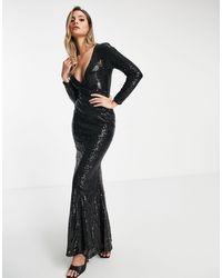 Club L London Club L Wrap Front Sequin Maxi Dress With Fishtail - Black
