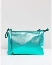 Pull&Bear Cross Body Metallic Bag With Zip - Green