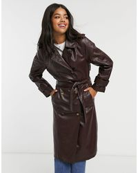 Stradivarius Faux Leather Belted Trench Coat - Brown