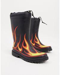 ASOS Regenlaarzen Met Vlammenprint - Zwart