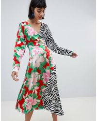 ASOS - Wrap Maxi Dress With Long Sleeve In Mixed Print - Lyst