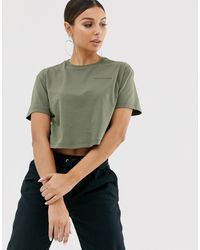 Converse Khaki Green Dropped Shoulder Crop T-shirt