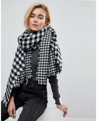 Warehouse - Black And White Dogtooth Check Scarf - Lyst