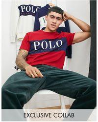 Polo Ralph Lauren Красная Футболка С Большой Вставкой С Логотипом На Груди - Красный