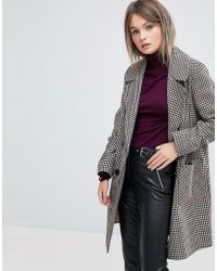 Miss Selfridge | Double Breasted Check Coat | Lyst