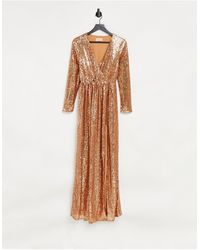 Club L London Club L Wrap Front Sequin Maxi Gown - Brown