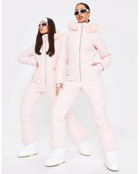 Missguided Ski Quilted Snow Suit - Pink