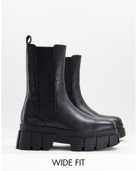 ASOS Wide Fit Adjust Premium Leather Chunky Chelsea Boots - Black