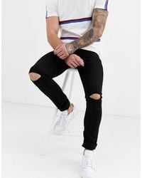 Pull&Bear Join Life Super Skinny Jeans With Knee Rips - Black