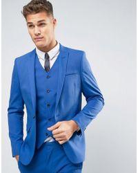 ASOS - Asos Wedding Skinny Suit Jacket In Dusky Blue - Lyst