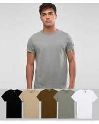 ASOS - T-shirt With Roll Sleeve 5 Pack Save - Lyst