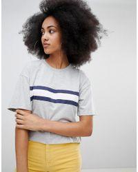 Pull&Bear - Grey Stripe Front Tee - Lyst