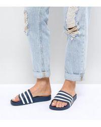 adidas Originals - Adilette Slider Sandals In Navy And White - Lyst